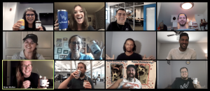 Screen shot of the Statwax eam celebrating with drinks and food on a Zoom call